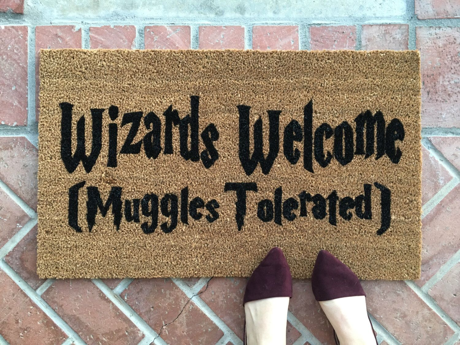 harry potter welcome mat handpainted funny doormat wizard