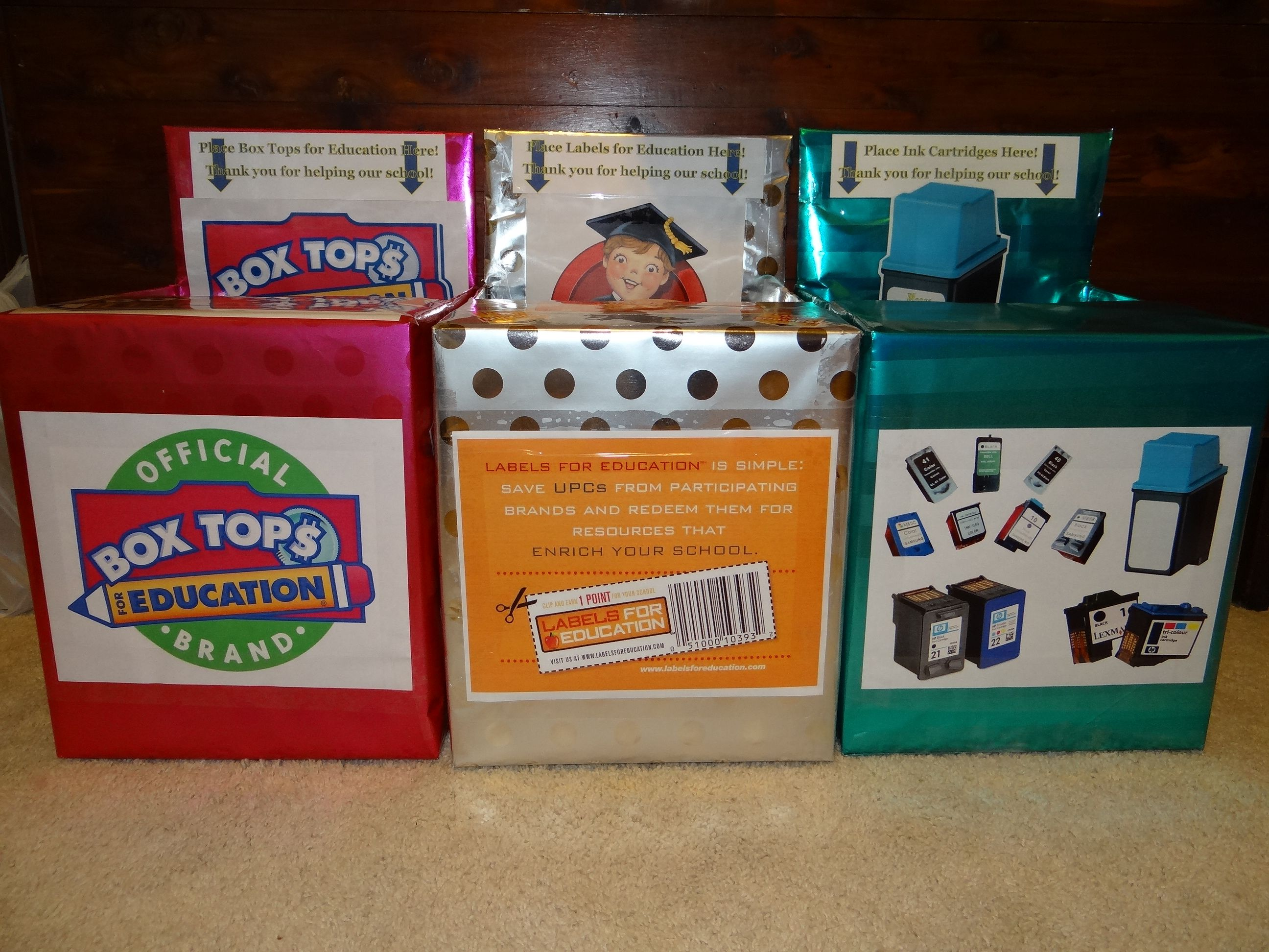 Our New Principal Asked For Some New Collection Boxes For Box Tops Labels For Education And Ink