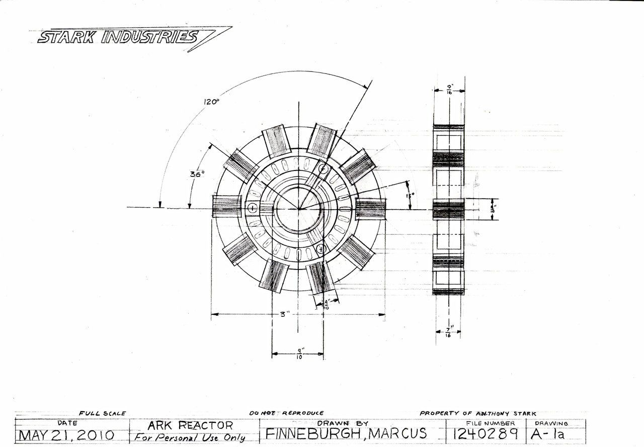 Arc Reactor Technical Drawing By Markfinn On Deviantart
