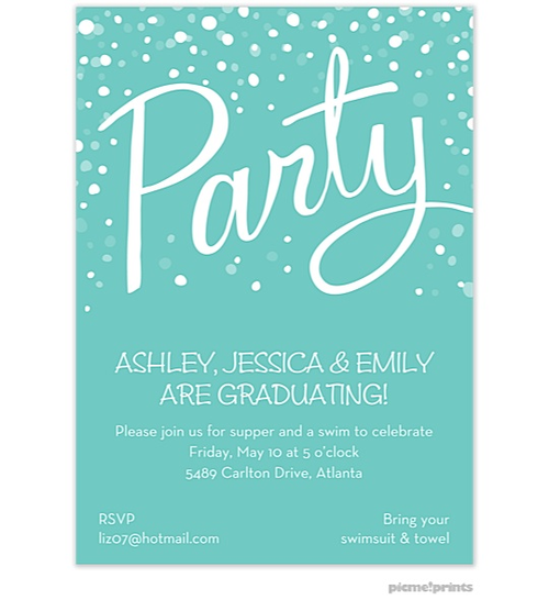 Picme Prints Party Turquoise Invitation So Pretty For Graduation Graduation Invitations Party Invitations Invitations
