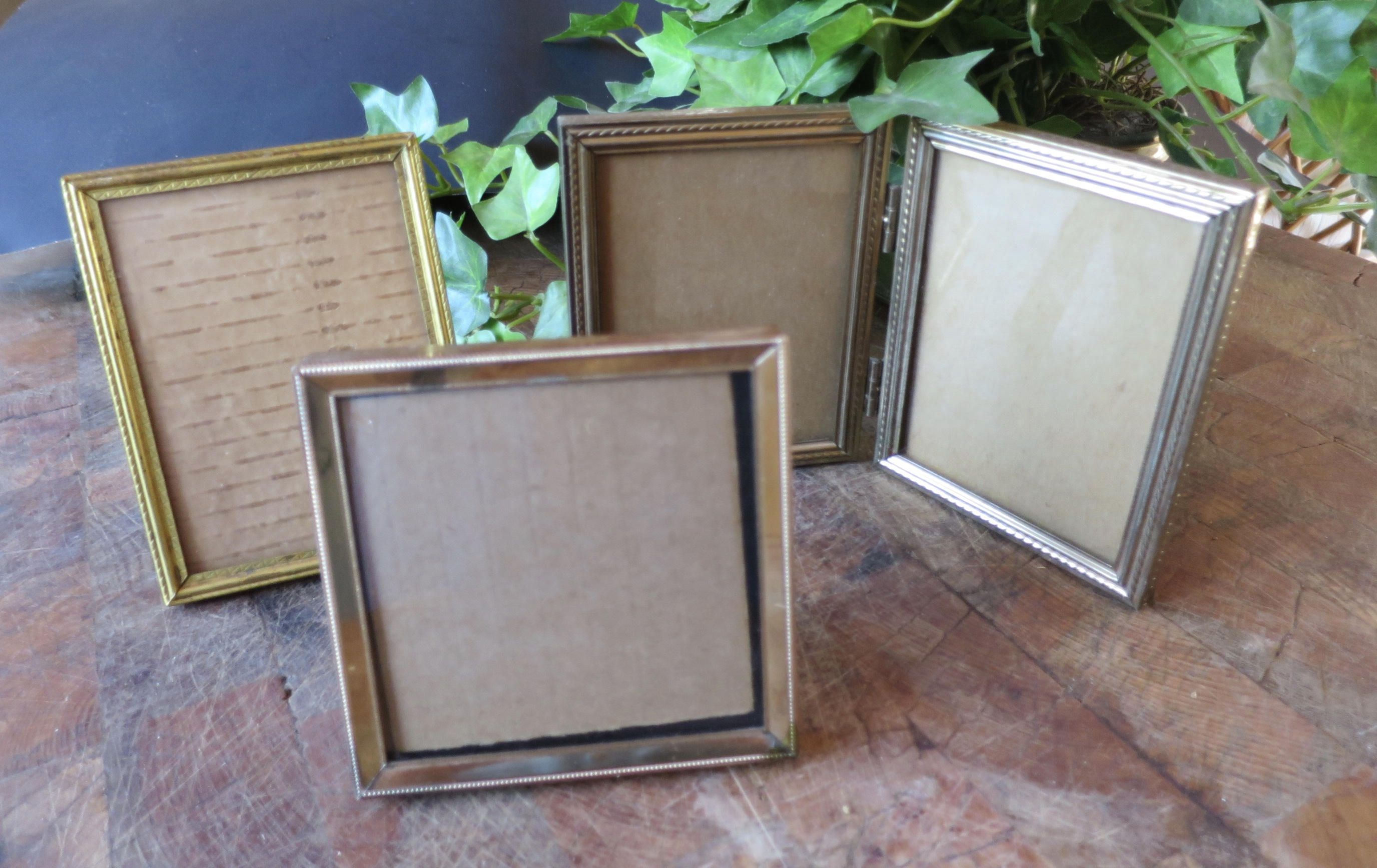Vintage 3 Metal Photo Frames 3 X 4 3 X3 Inch Photos Gold Finish Hollywood Regency Frame Group Desk Top Tablet Metal Photo Frames French Home Decor Home Decor