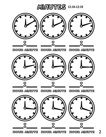 Minutes 12 10 12 18 Coloring Page From Telling Time Worksheets Category Select From 26204 Printable Crafts Of Car Clock Learning For Kids Clock Coloring Pages
