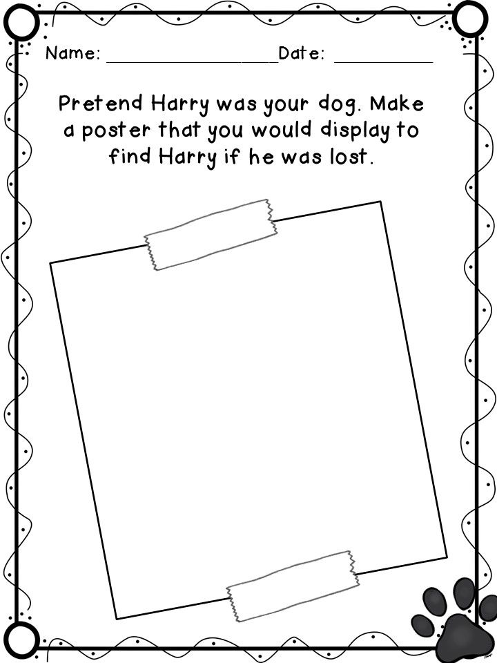 Harry the Dirty Dog Reading Comprehension Packet Dog, Book - lost pet poster template