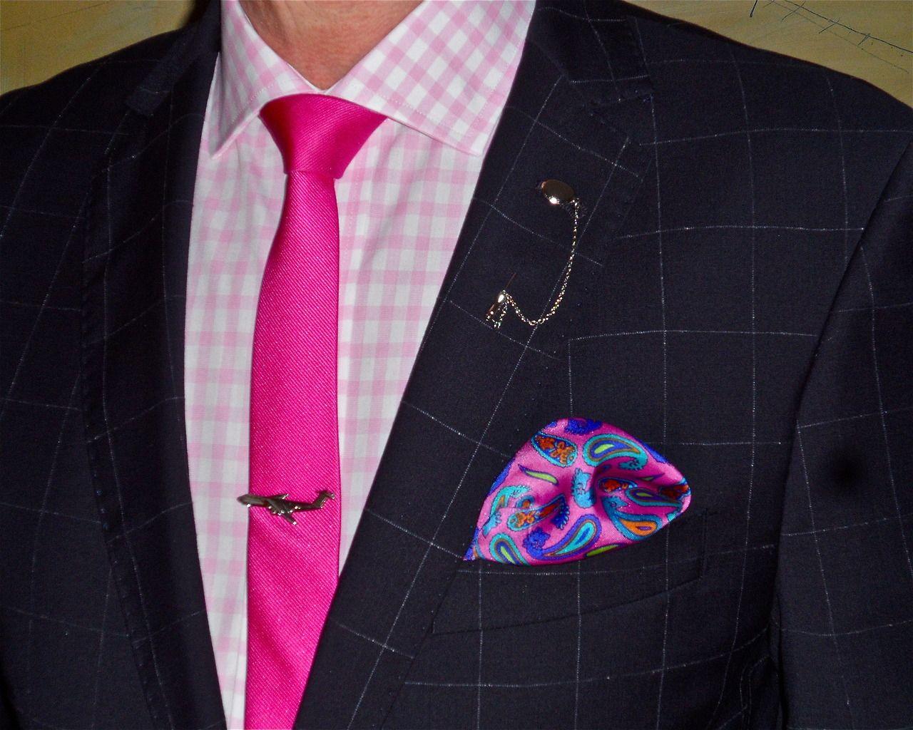 Pink dress shirt blue suit  Van Gils midnight blue windowpane check suit Tommy Hilfiger shirt