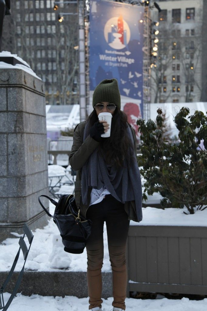 Winter Weather- http://vivierebella.com/bryant-park-snow-day/ @Snow White @Rick- Cawthard #nyc fashion blogger #new york fashion blogger #beanies #bags #shoes