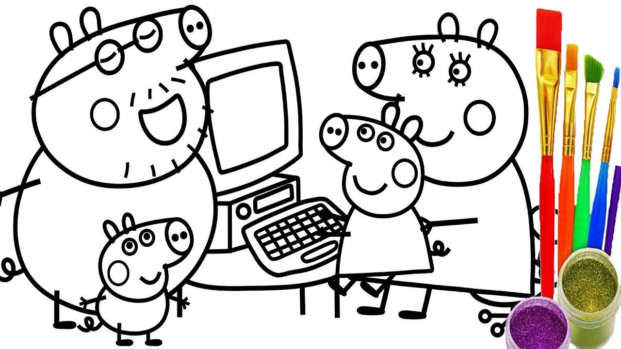 How To Draw Peppa Pig Family Computer Coloring Pages