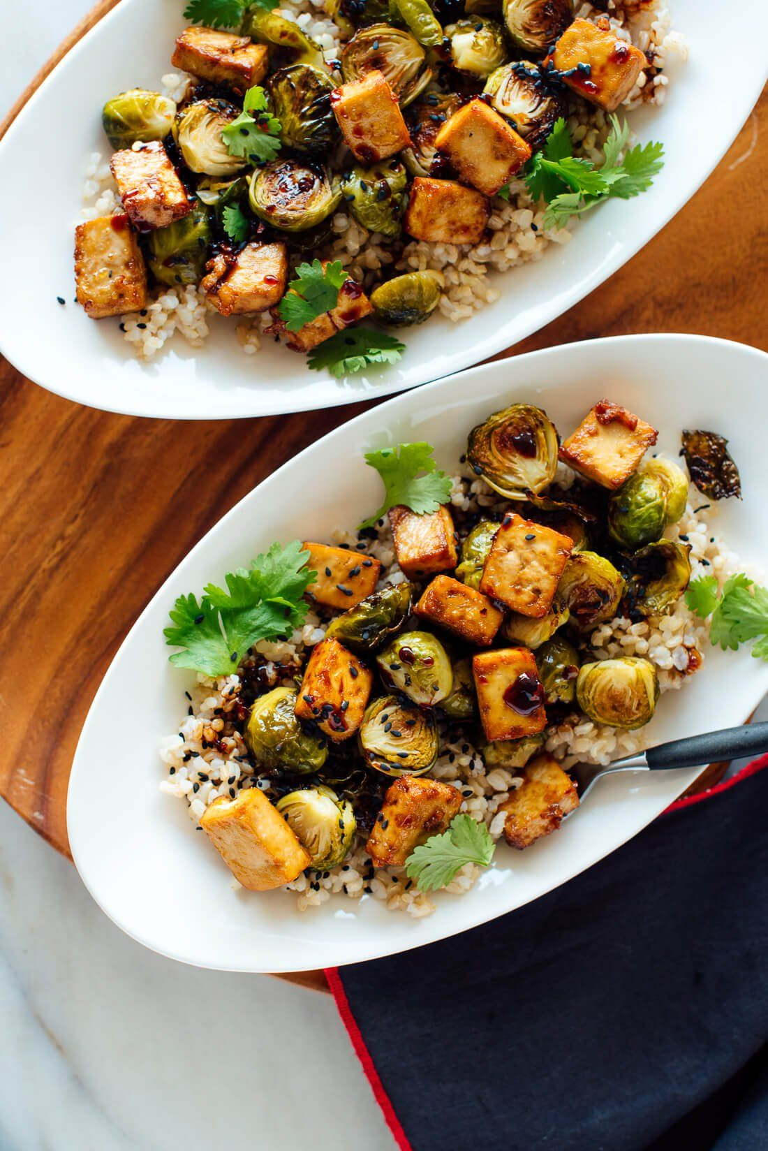 Roasted Brussels Sprouts And Crispy Baked Tofu With Honey Sesame Glaze