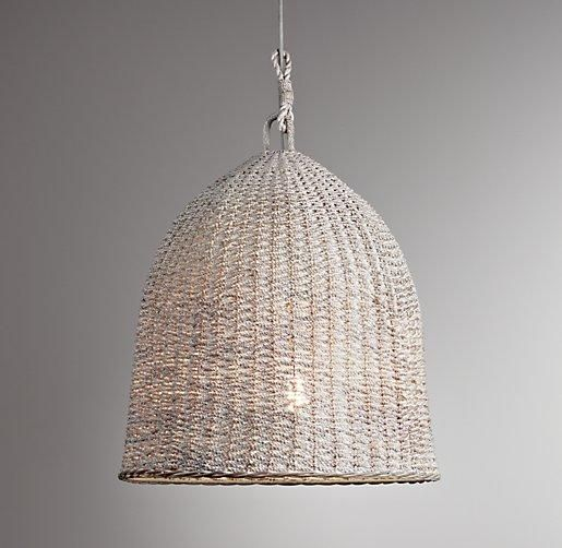 High/Low: A Trio Of Woven Wicker Pendant Lights. Restoration Hardware ...