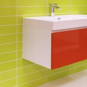 rhian 30x10 verde green gloss tiles | brick effect wall