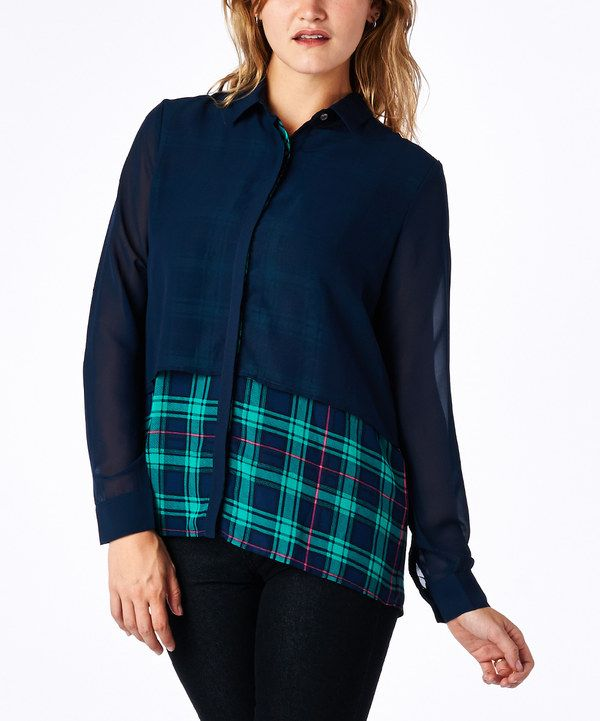 Look at this tresics Jade & Navy Layered Button-Up on #zulily today!