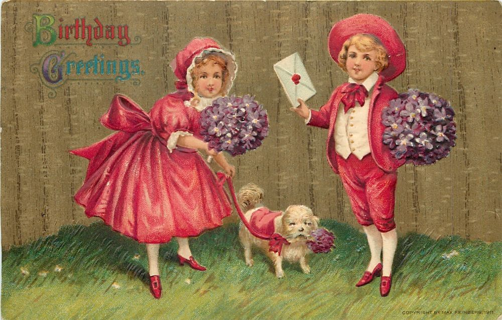 Victorian Boy Girl~Red~Violets Bouquet~White Fur Puppy~EMB~Max Feinberg Series