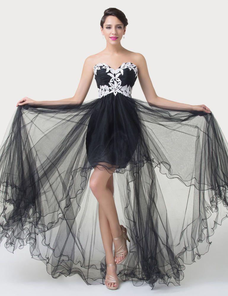 Black Strapless High-low Evening Wedding Bridesmaid Prom Dress ...