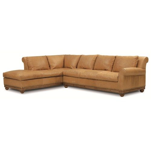 Elite Leather Echo Park Traditional Sectional Sofa With Bun Wood Feet