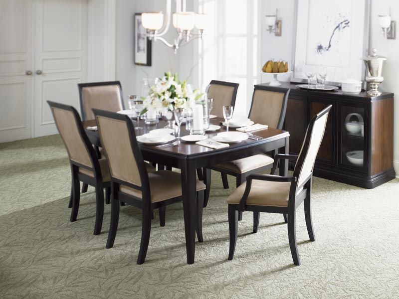 Room Patterned Carpet Is Perfect For This Formal Dining