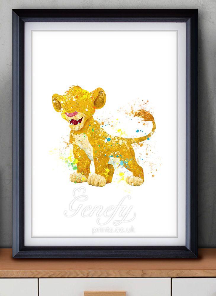 Disney Lion King Simba Watercolor Painting Art Poster Print Wall ...