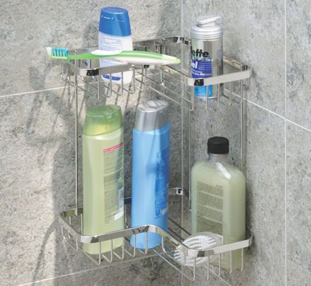 Shower Caddy From Individual Stick On Baskets Corner Shower