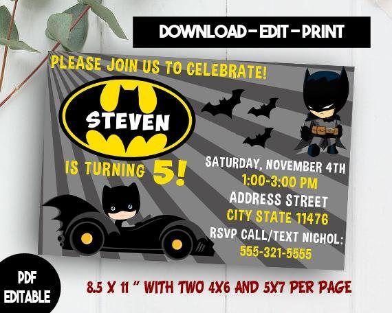 Batman Invitation Download Editable PDF Template Invites Birthday Party Bat