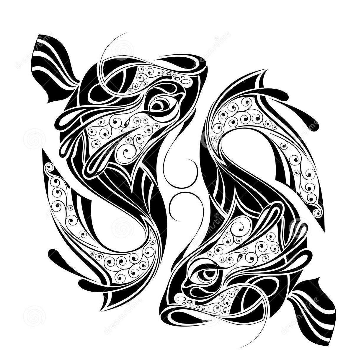 Sign tattoo designs - Zodiac Wheel With Sign Of Pisces Tattoo Design By Kseniya Polishchuk Via Dreamstime