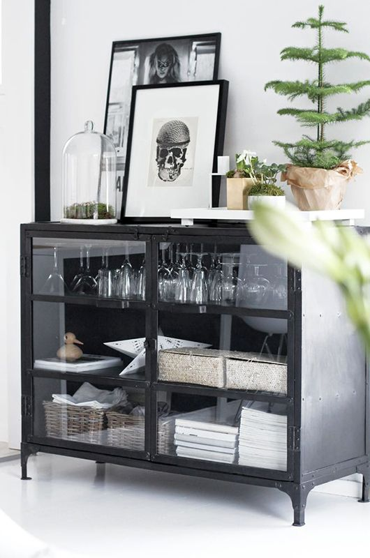 Black Buffet Cabinet With Glass Doors / Sfgirlbybay