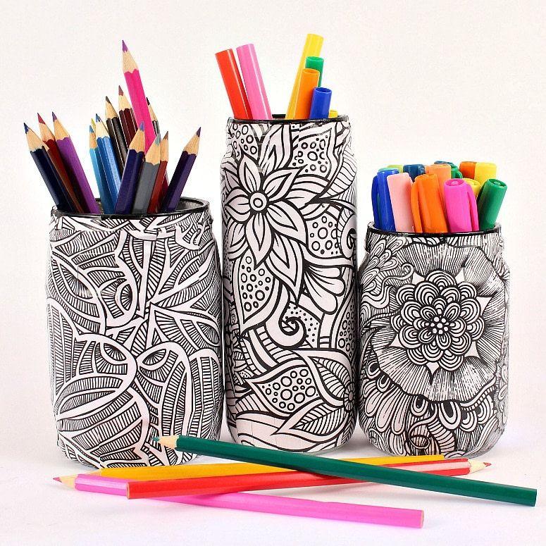 Coloring Book Jar Makeover | Coloring books, Jar and Books