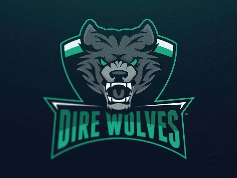 dire wolves mascot logo sports logos logo design