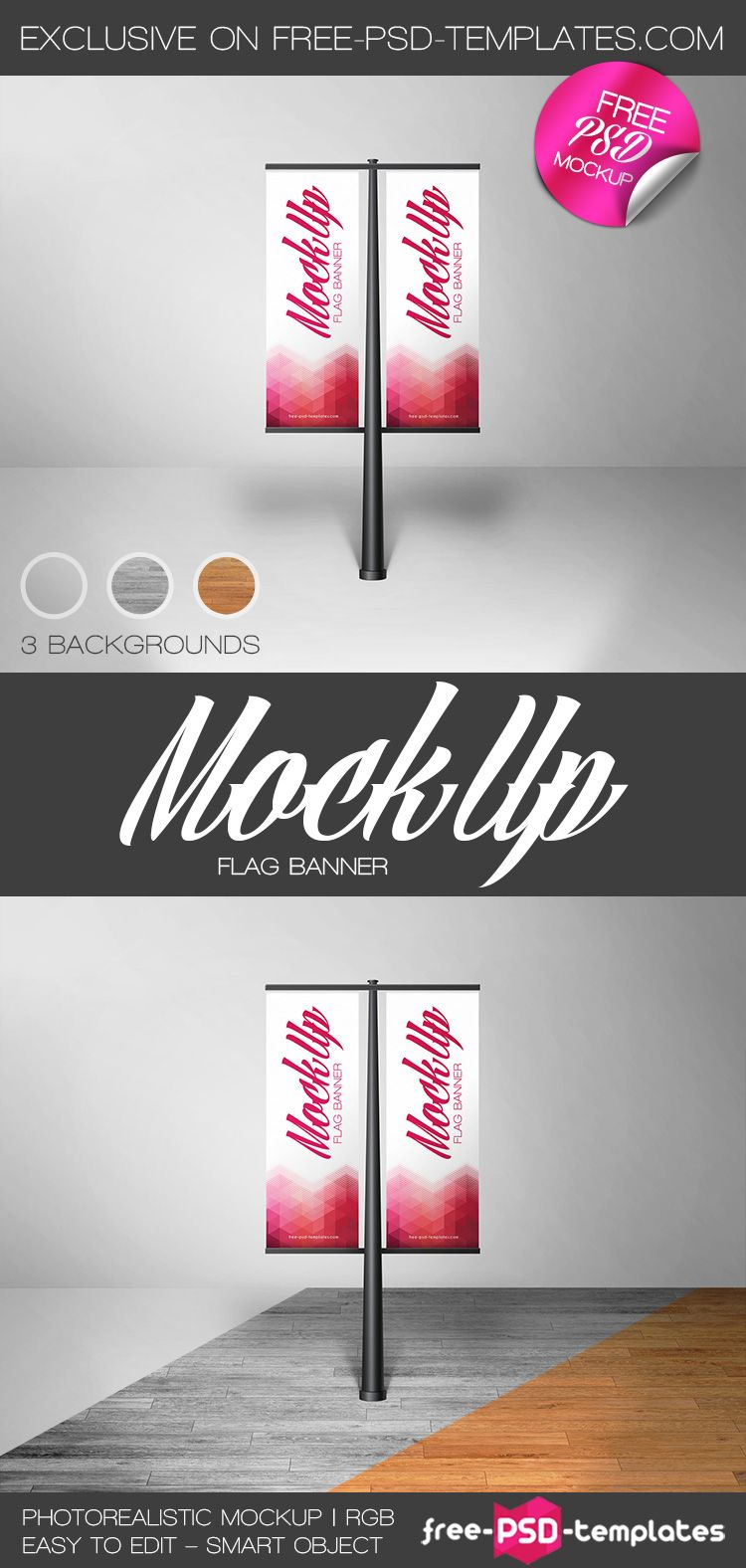 Free Flag Banner Mock-up in PSD | Free PSD Templates | Mock up ...