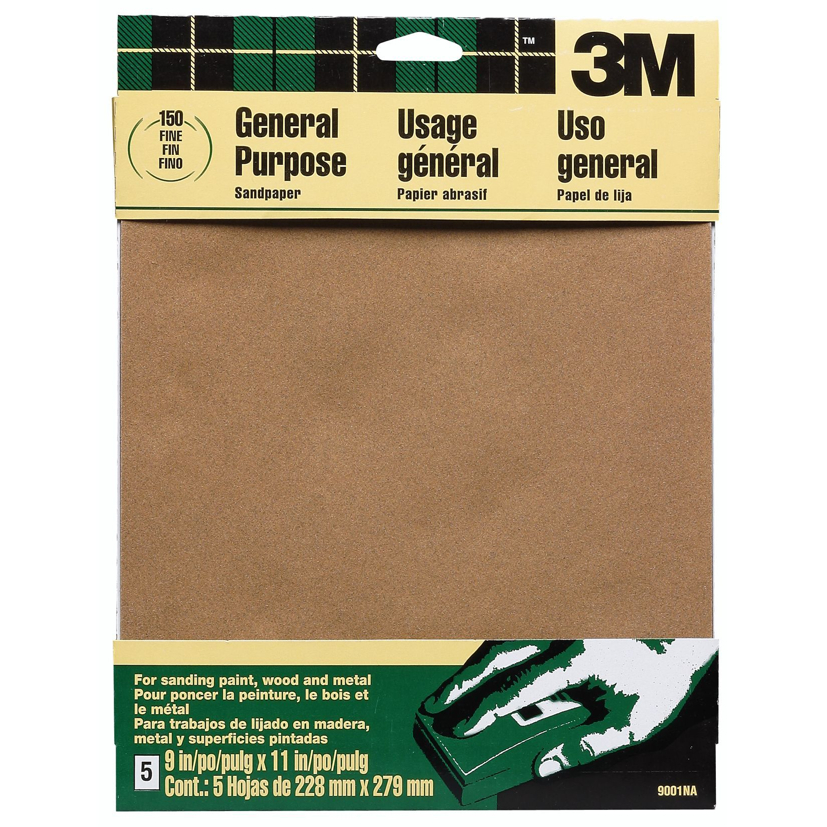 """6 Pk 3M All-Purpose Sandpaper 9/"""" X 11/"""" Assorted Grit 5 Sheets//Pack 9005"""