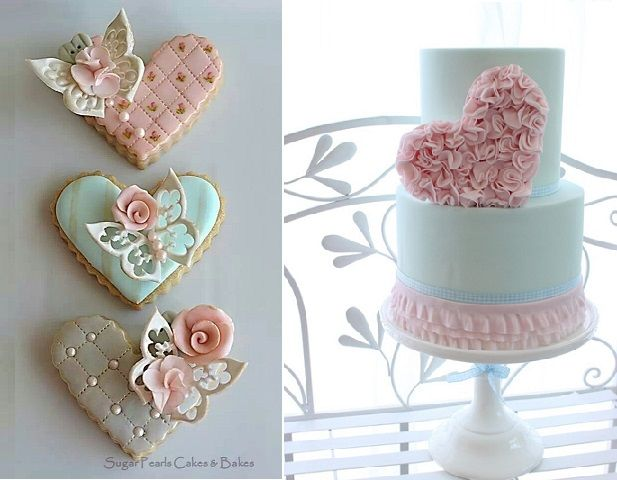 Valentines cookies by Sugar Pearls Cakes and Bakes and ruffled heart cake by Kelly Warwick Cakes as featured on Cake Geek Magazine
