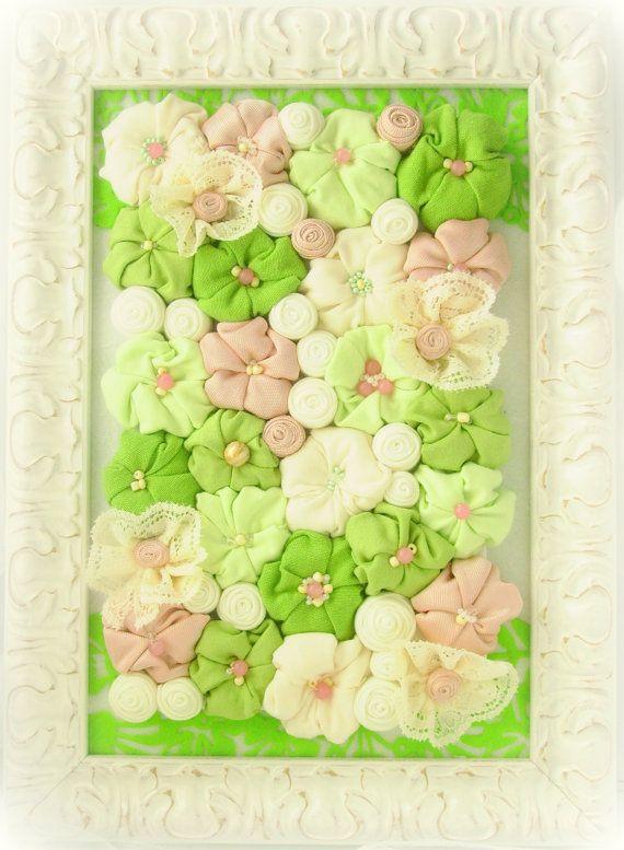 Framed shabby chic fabric flower wall art - 3D design home decor ...