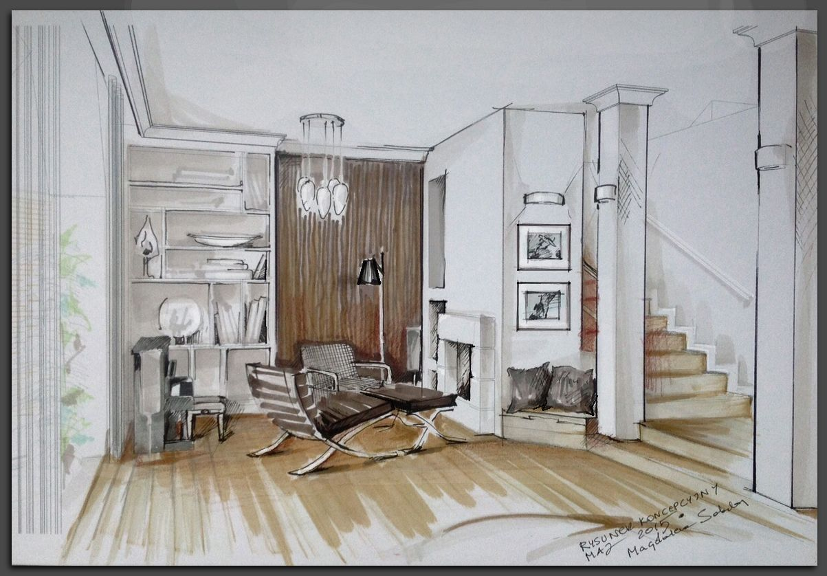 Dessin Decoration Interieur Living Room Illustration Interior Sketches And Drawings