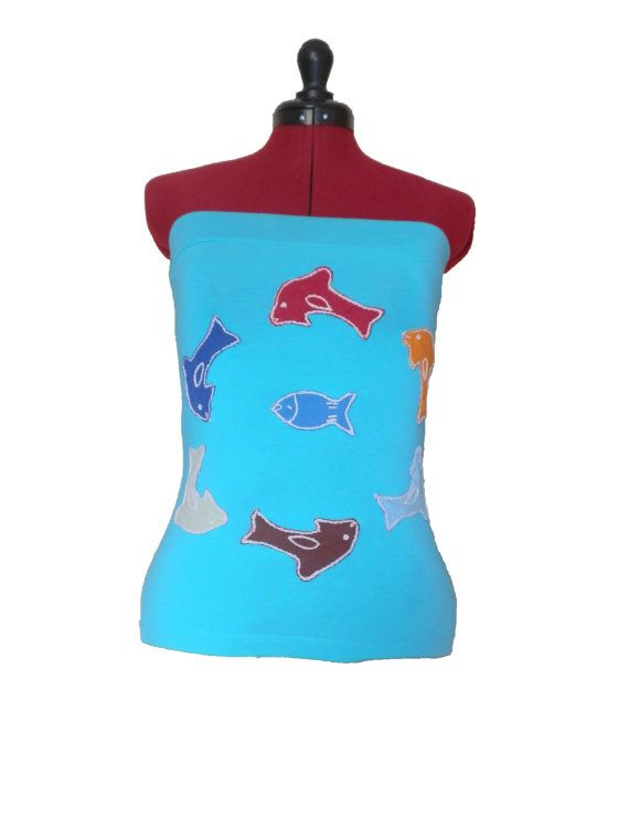 Funky Swimming Dolphin Turquiose Tube by FeedTheDogCreations