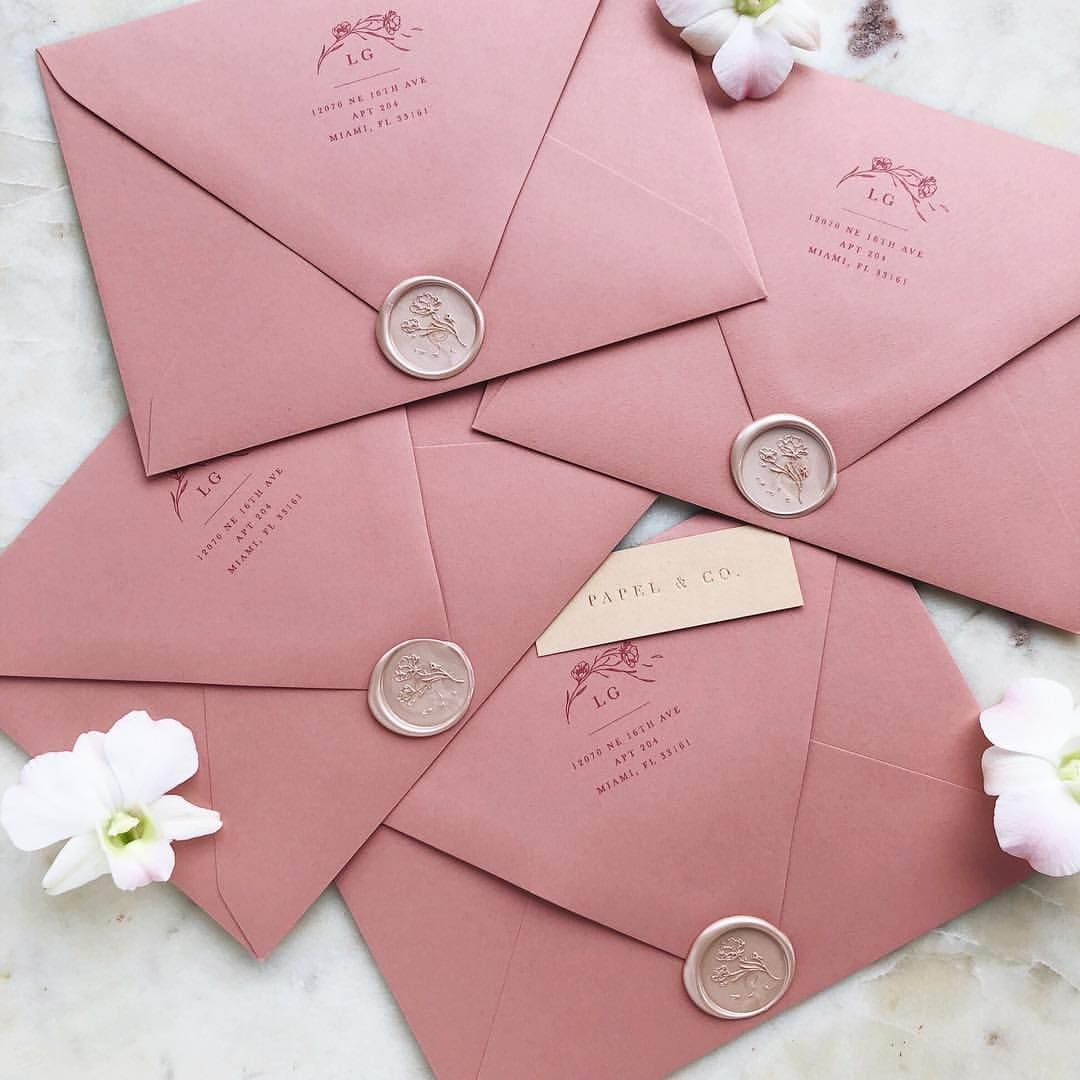 Small Ceremony Big Reception Invitations: Dusty Rose Wedding Invitations And Champagne Wax Seals