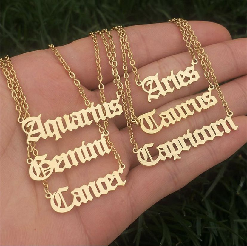 Gold Stainless Steel Zodiac Letter Necklace Virgo