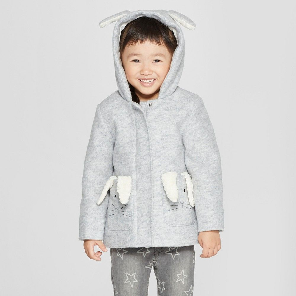 2007b2906 Toddler Girls  Faux Wool Bunny Overcoat - Cat   Jack Gray 12M ...