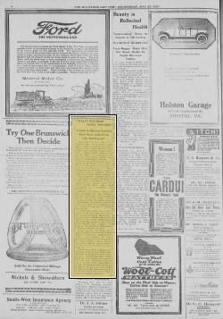 Matewan, 12 killed,  The Big Stone Gap Post, page 4, May 26, 1920, Big Stone Gap Va. (Mine Wars)