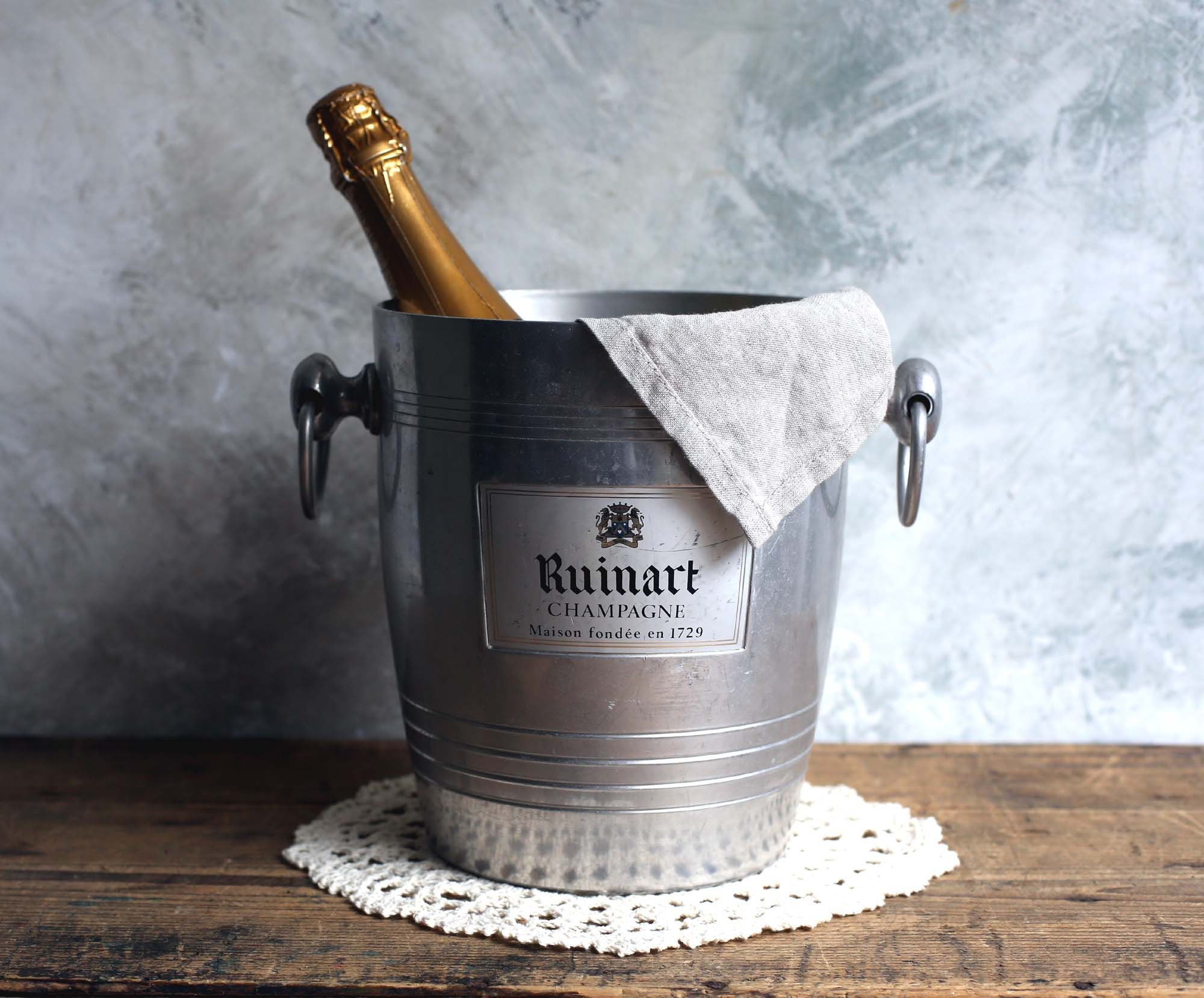 Ruinart Champagne Ice Bucket Vintage French Metal Wine Cooler Champagne Buckets Champagne Ice Bucket Champagne