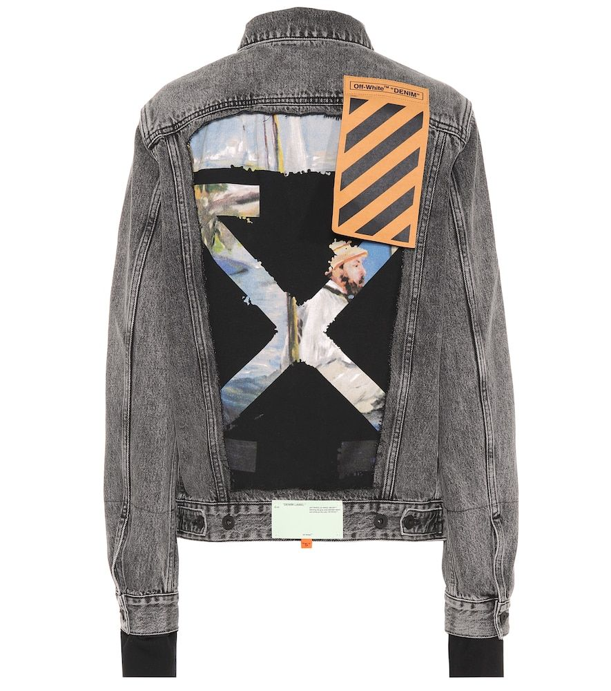 Off White Printed Denim Jacket 555 Liked On Polyvore Featuring Outerwear Jackets Distressed Denim J Diy Denim Jacket White Denim Jacket Off White Jacket