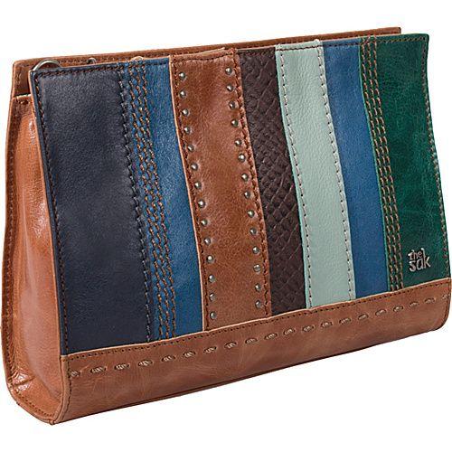 The Sak Iris Demi Clutch Blue Stripe Multi Leather Handbags