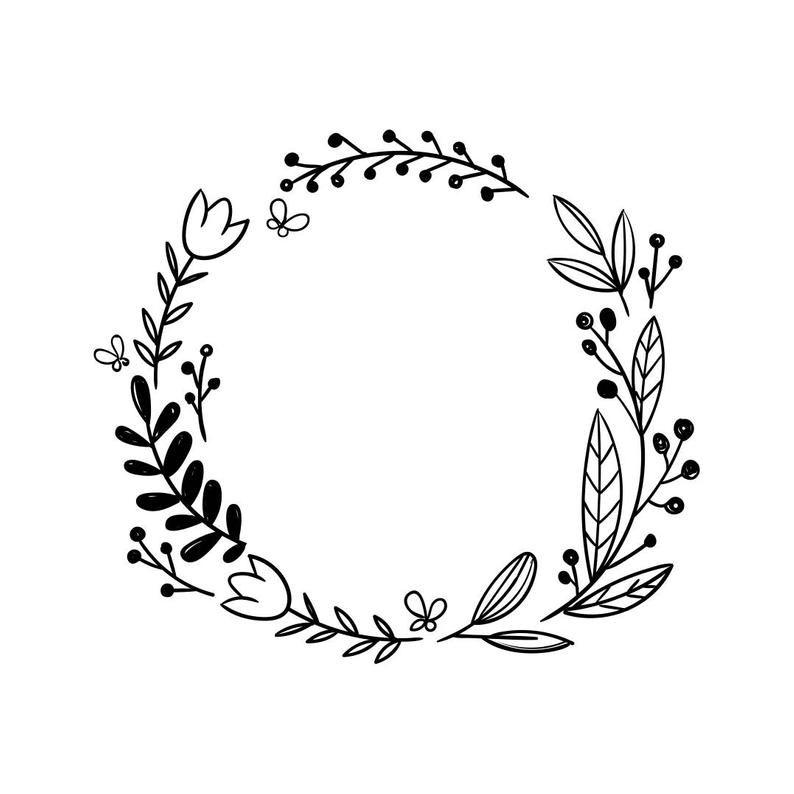 Frame Wedding Flower Vinyl Graphics Svg Dxf Eps Png Cdr Ai Pdf Etsy In 2020 Wreath Drawing Flower Frame Wedding Frames