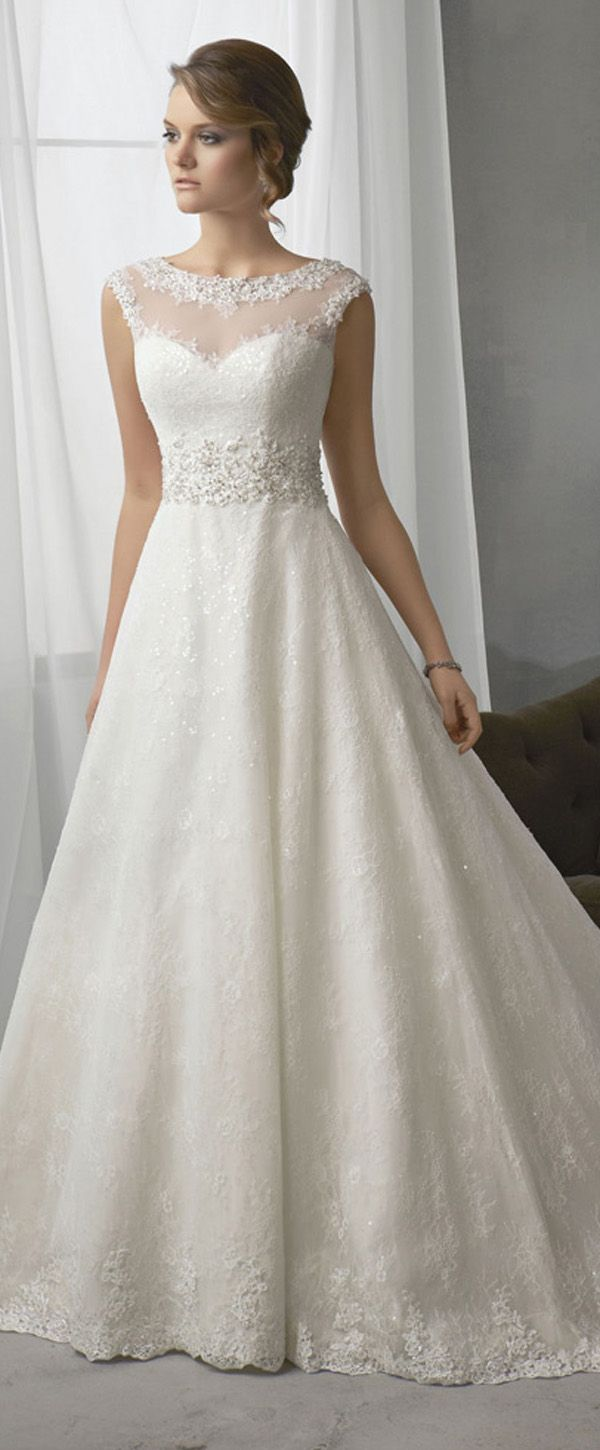 Elegant lace bateau neckline natural waistline aline wedding dress
