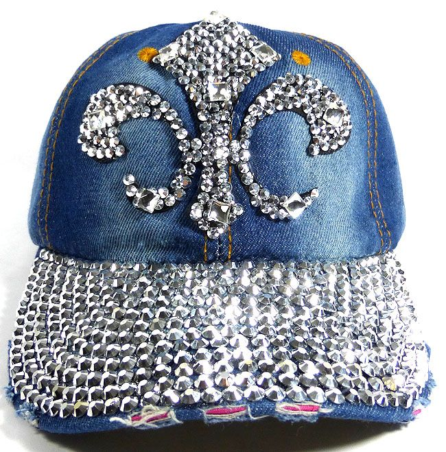 abf55ae5f4cb4 Wholesale Bling Denim Baseball Hats for Women - Fleur de Lis 2 ...