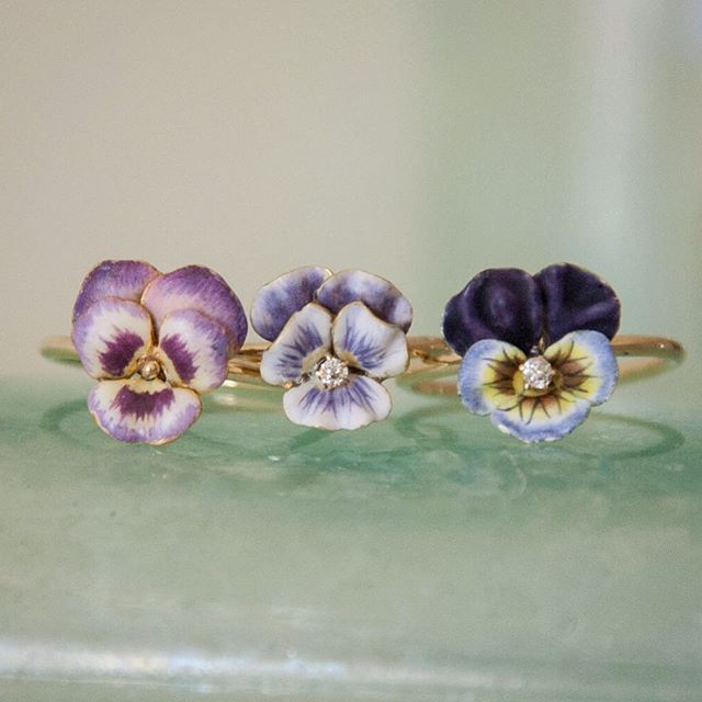 Our newest pansy rings are selling out fast, but we'll have more available in the next few weeks.  #pansy #etsystore #artnouveaujewelry #flowerjewelry #jewelrylove #etsyvintage #pansies