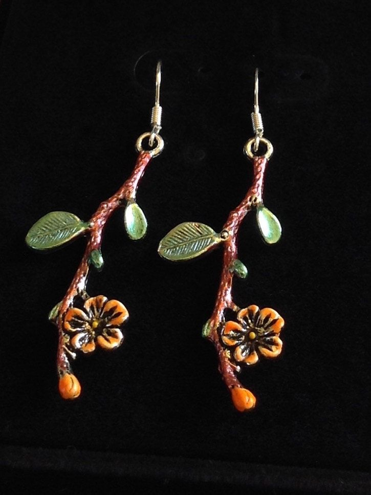 Tree Branch Earrings Asian Leaf Victorian Dangle Twig Handpainted By Artisticearsbypeggy On Etsy