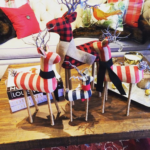 We can't get over these OH-SO-CUTE buffalo check and striped reindeer! #potterybarn #mypotterybarn #holiday #christmas #christmasdecor #reindeer #buffalocheck #cville #uva