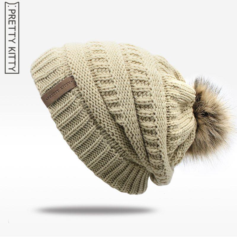 4e7e912fa3bd1b Price-5$ 2017 hot Double layer fur ball cap pom poms winter hat for ...