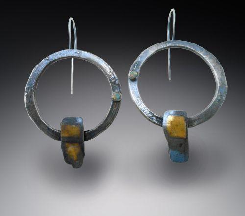 "Jewelry : ""earrings: silver and 22K gold opal"" (Original art by ..."