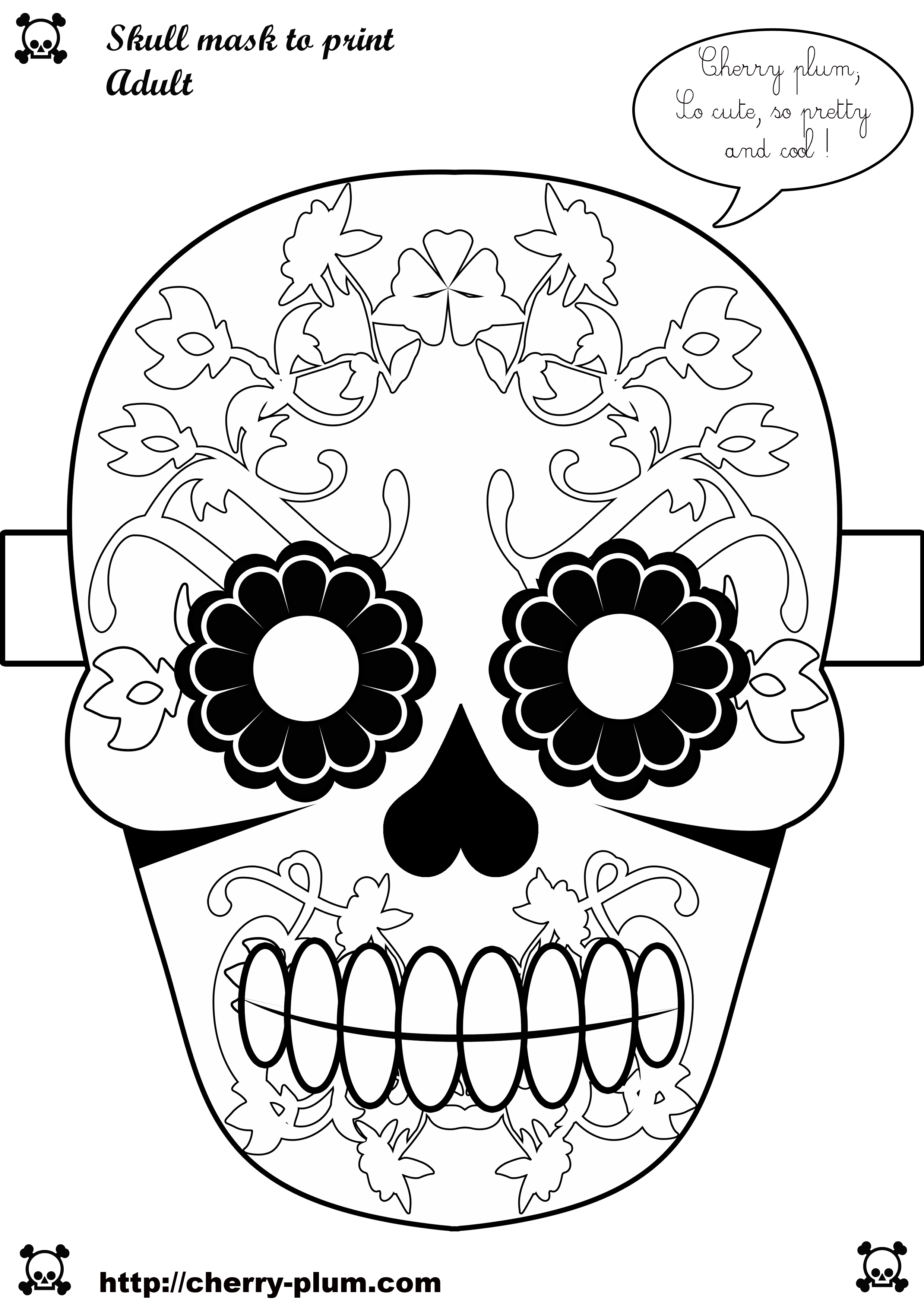 Diy halloween skull 2480 3508 d a de muertos - Masque halloween a colorier ...