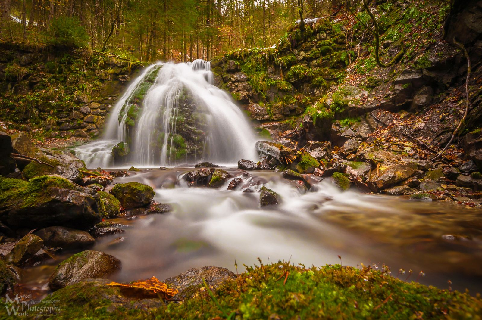"""Waterfall Geisalpbach - The lower waterfall of the creek """"Geisalpbach"""" in late Autumn in Bavaria near Oberstdorf. As you can see I like waterfalls very much ;) **************** More pictures: <a href=""""https://www.marcelwenk.com"""">Take a look at my homepage</a> **************** Copyright: Marcel Wenk"""