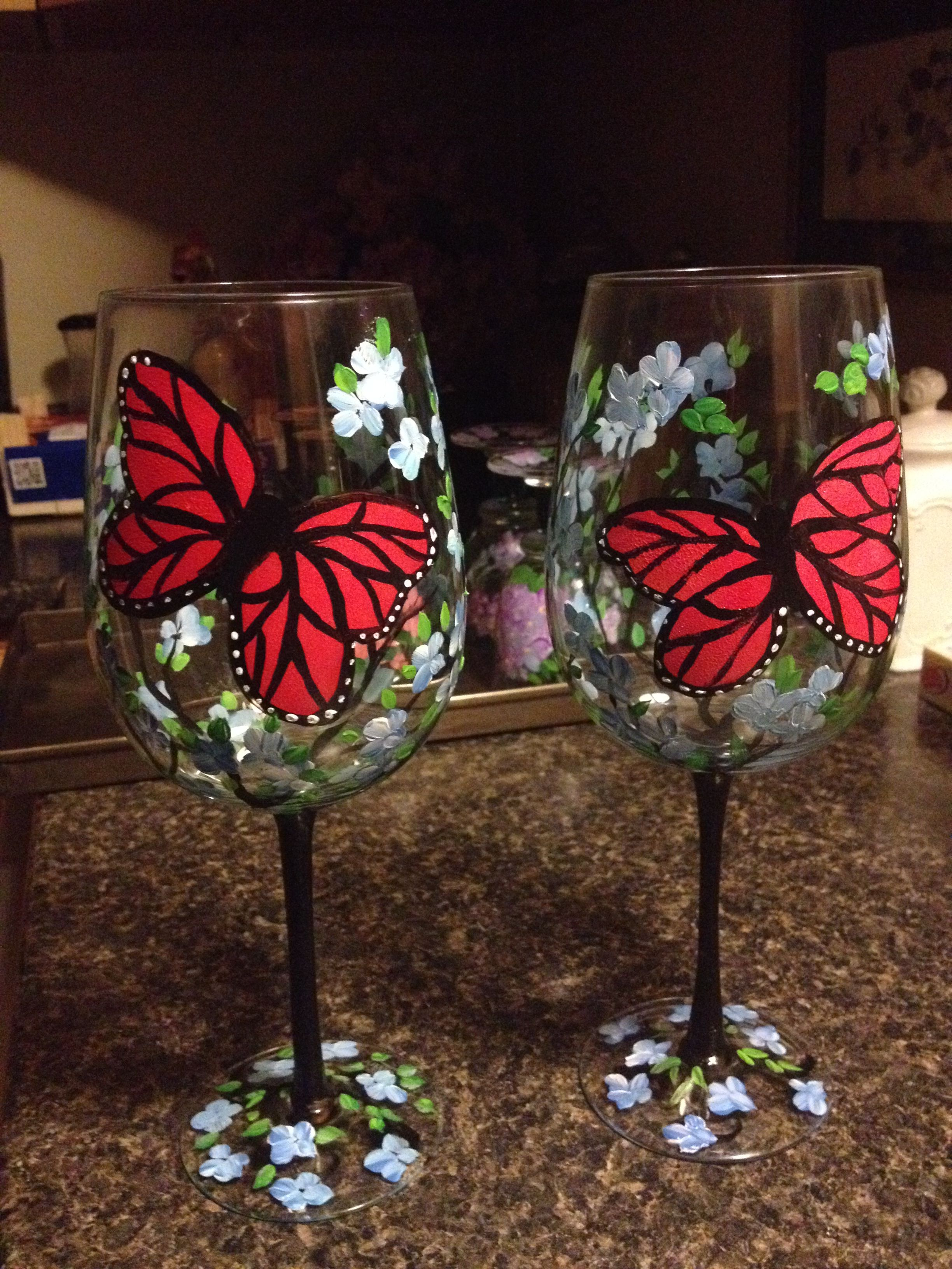 Here S Some Butterfly Wine Glasses I Painted Today With Blue Flowers Wrapped Around Glass And Base A Butterfly Wine Glasses Painted Wine Glass Wine Glasses