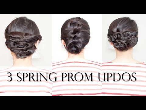 3 Easy Spring Prom Updos for Shoulder Medium Length Hair (no-heat) - YouTube